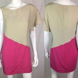 Bebe Mulberry Silk Colorblock Asymmetric Dress